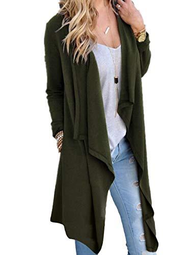 SWISSWELL Damen Strickjacke Cardigan Pullover Blazer Jacke Mantel Tops Casual Outwear Irregulär Cardigan Asymmetrisch Langarm Loose mit Taschen Dunkelgrün S - Pullover Mantel Damen
