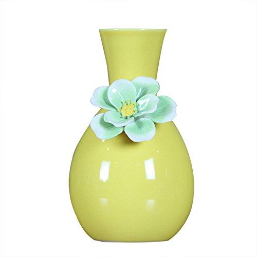 Kangsanli Chinesischer Stil Exquisite Keramik Weiß Schwarz Tischplatte Vase Home Dekoration Vase Fashion Porzellan Blumenvase Deko Vasen Gelb (Niedrige Runde Glas-vase)
