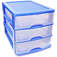 Plastic Forte Cajonera de sobremesa Azul 3 cajones 26.5 x 27 x 35.5 cm