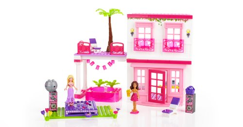Mega Bloks Barbie Deluxe Fab Beach House Loft with 4 Dolls Convertible Car and Ice Cream Cart #80214