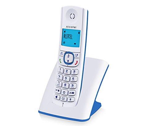 Alcatel F530 - Téléphone sans fil DECT design aux coloris contemporains, Mains libres de qualité, Grand écran rétroéclairé ultra lisible, Sonneries VIP, 10 mélodies d'appel - Blanc/Bleu