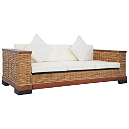 LucaSng Canapé à 3 Places,Divan Lit,Sofa pour Chambre à Coucher et Salon,avec Coussins Marron Rotin Naturel,191x78x66 cm