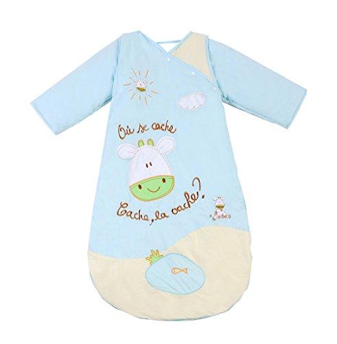 Missfly Unisex Baby Schlafsack Kinderschlafsack mit abnehmbaren Ärmeln ,Cartoo Tier Design,fuer Ganzesjahr 20-25 Grad, Blaue Kuh, M(Länge:90cm)