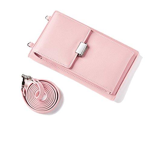 Damen Mini Handytasche Tasche Handy Kleine Umhängetasche Klassisch Messenger Bags Leder Handtasche für Frauen Mädchen Alltag Reise Verstellbarem Schultergurt Blasses Pink