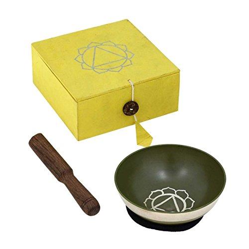 RoyaltyRoute Palm taille jaune méditation tibétaine Plexus solaire Chakra chant bols sertie de coussin diamètre 8,65 CM