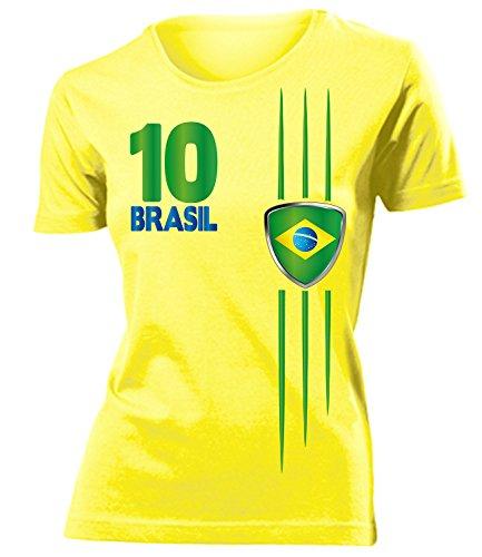 Brasilien Streifen 3212 Fussball Fanshirt Damen Fun-T-Shirts Gelb M