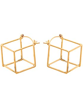 Front Row Damen-Ohrringe goldfarben dreidimensionale offene Würfel