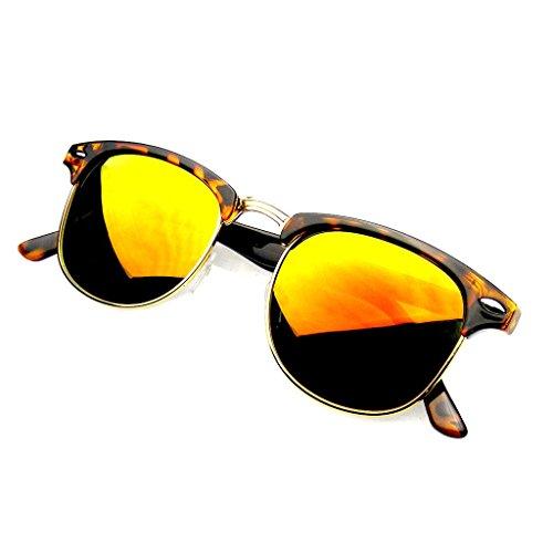 Emblem Eyewear - Prämie Halbbild Horn umrandeten Sonnenbrillen Metall Nieten (Flash Mirror | Schildkröte-rot)