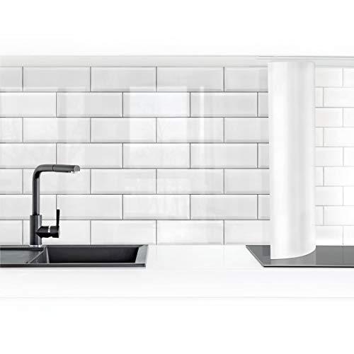 Bilderwelten Küchenrückwand Folie selbstklebend Keramikfliesen Weiß 60 x 200 cm Smart