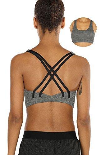 icyzone Sport-BH Damen Yoga BH mit Polstern - Kreuz Rücken Bustier Jogging Fitness Oberteil Mittlerer Halt (XL, Grey)