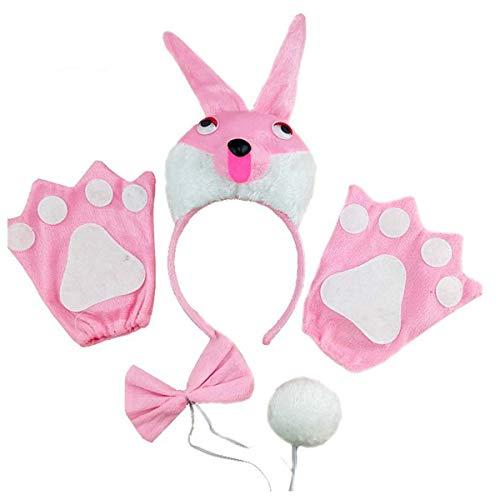 Amosfun 5-teiliges Hasenkostüm-Set mit Hasen-Kopfband, Handschuhe, Krawattenschwanz, Party, Cosplay-Zubehör für - Hase 5 Teilig Kostüm