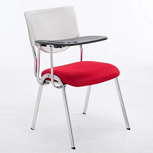DUOER-Klappstühle Multifunktionsstuhl Kunststoff Büromöbel Schwarz Rahmen Konferenzstühle - mit Arm & Kunststoff Tablet WordPad (Color : H)