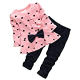 CHIC-CHIC 2pcs Baby Girl kids Clothing Set Long Sleeve Bowknot T-shirt Top + Pants Trousers Leggings Outfit (12-18 months, Pink)