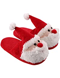 Santa Claus Slippers Plush Soft Warm Slippers Non-Slip Slip-on Shoes Christmas Gift for Adults and Kids - Size 28-29
