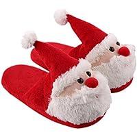 FENICAL Zapatillas de Navidad Papá Noel Zapatillas de invierno Zapatillas suaves y cálidas Regalo de Navidad para adultos y niños - Tamaño 40-41