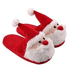 Idea Regalo - Pantofole natale peluche OULII Scarpe ciabatte natalizie Unisex antiscivolo e mordide per inverno con Babbo Natale Taglia 37-38