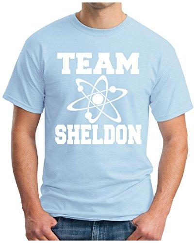 OM3 - BIG-BANG-TEAM-S-WS - T-Shirt ATOM PENNY KITTY GEEK EMO FUN SITCOM TBBT NERD SARCASM PARODY, S - 5XL Hellblau