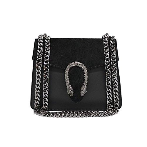 RONDA MINI Umhängetasche Handtasche mit Kette und Schließen von Zubehör metallischen dunklem Nickel, Glatteleder und Wildleder, Hergestellt in Italien 23 x 7 x 19 cm (mini schwarz) (Italienischen Leder Falten)