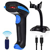 ‏‪Wireless Barcode Scanner USB Cordless Laser Automatic Barcode Reader Handheld Bar Code Scanner with USB Wireless Receiver for Library Retail & Warehouse‬‏