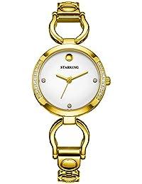 Starking bl0984gs81 simplicidad tono de oro blanco de la mujer Dial cuarzo reloj bisel con piedras incrustadas
