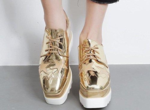 YCMDM Femmes 2017 Chaussures épaisses Chaussures Loose Femmes talon unique Chaussures Casual Gold