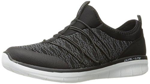 Skechers Synergy 2.0-Simply Chic, Zapatillas sin Cordones para Mujer, Negro (Black/White), 36 EU