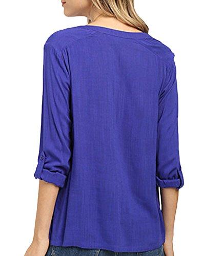 Auxo Femmes Lâche Sexy Col V Manches 3/4 Irrégulière Coton-Lin Poches Chemises Tops Blouses Bleu