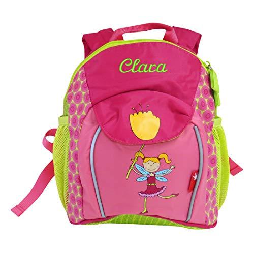 *Sigikid Mädchen-Rucksack mit Wunsch-Name bestickt grün pink 29 cm x 10 cm x 24 cm Fee Florentine Kindergarten-Rucksack personalisiert*