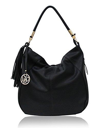 LYDC London Damen Handtasche PU-Leder Schultertasche Tasche Schwarz