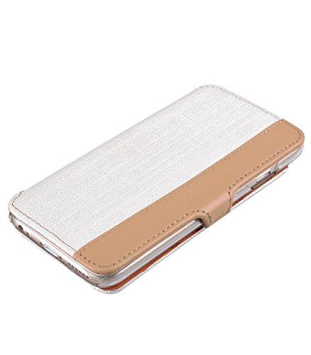 Melkco 4894522002637Flip Type sampu Series Premium Housse en cuir pour Apple iPhone 6(4.7) Blanc/marron blanc