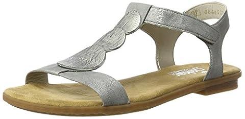 Rieker Damen 64263 Offene Sandalen mit Keilabsatz, Silber (Argento / 90), 40 EU