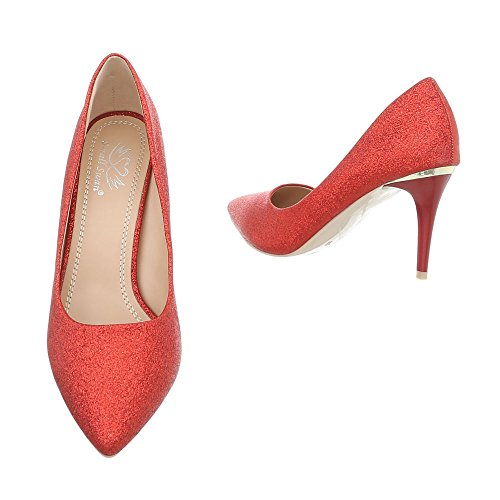24 Design 5015 Femme Compensées Chaussures Ital Rot zUqwB6Pqf