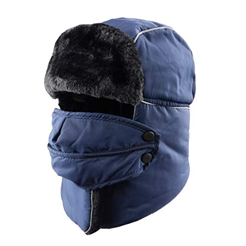4b1476d087f TRIWONDER Winter Trooper Trapper Hat Ushanka Russian Ear Flap Aviator Hat  with Mask (Navy Blue