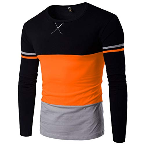 Xmiral Herren Pullover weatshirts Herbst Winter Farbblock Spleißen Gestreiftes Langarm T-Shirt(M,Orange) -