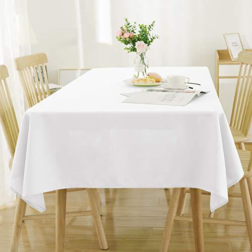 Deconovo Tischdecke Leinenoptik Lotuseffekt Tischwäsche Wasserabweisend Tischtuch 130x130 cm Weiß