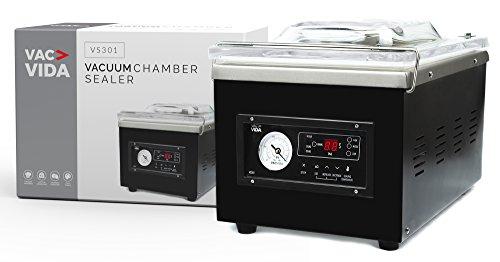 Vac Vida VS301Vakuumkammer Maschinen | mit einem eleganten schwarz Edelstahl Außen | Moderne Bedienfeld | Extra Starker Öl Pumpe | perfekt für ernsthafte Home Benutzer oder Restaurant -