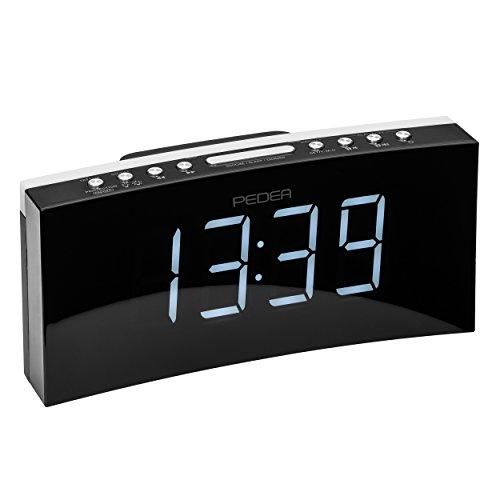 PEDEA FM Radiowecker Projektionswecker Uhr mit dimmbarem Display, Nachtlicht, Snooze, Dual Alarm und Sleep-Timer, schwarz