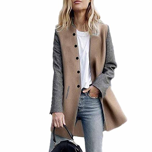 ESAILQ Damen Langarm Strickjacke Jacke Lady Coat Jumper Strickwaren(XL,Grau)
