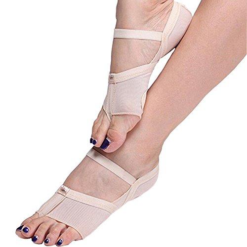 ANGTUO Bauchtanz / Ballett Tanz Zehenspitze Praxis Schuhe Fuß Schutz Socken Kostüm Gamaschen(1 Paar), Hautfarbe