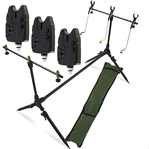 g8ds® Set Rod Pod Rutenhalter + Tragetasche inklusive 3 Bissanzeiger mit Lautstärke- und Tonregler für 9V Block Karpfen Angeln