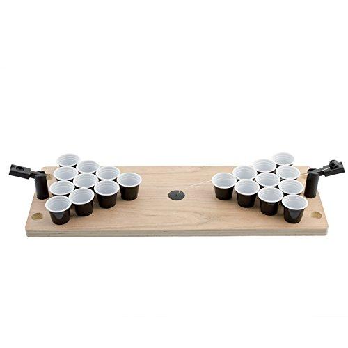 Pong: Das legendäre Bier-Pong als Mini-Version mit Shots - hochwertiger Mini-Holztisch inkl. 25 Shot-Bechern, 2 Fingerkatapulten & Ball - für Jede Party & unterwegs als Travel-Set ()