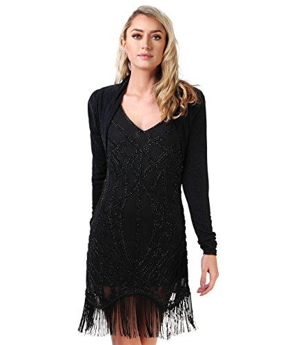 KRISP® Femmes Boléro Gilet Léger Soirées Différents Modèles Noir / Noir (9297)