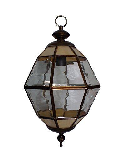 Farol estilo granadino. Colgante de vidrio artístico 1 luz E-27 oro viejo.30x25cm+cadena