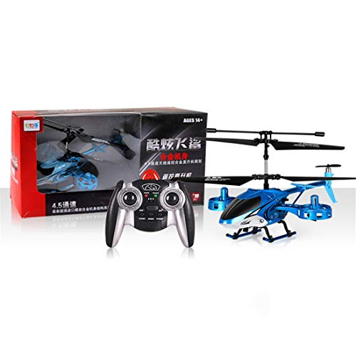 Zgifts Blue Shark Fernbedienungshubschrauber 4,5 Channel Mini Plane-Hobby RC Radio Plane Toys für Indoor Outdoor Kinder Kinder