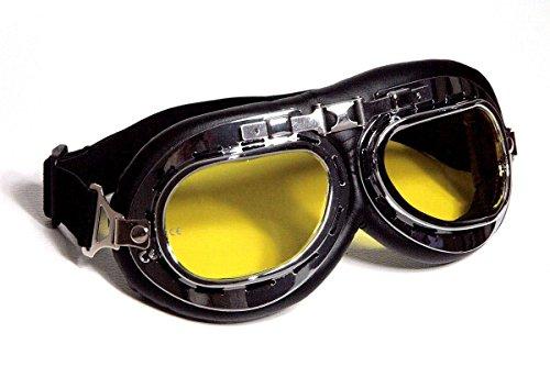 Qubeat Motorradbrille Classic, schwarz mit gelb getönten Gläsern (Ghostbusters Kostüm Brille)