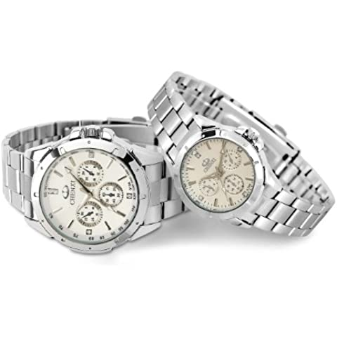 Impermeabile per esterni che si illumina al buio alla moda Orologio da uomo al quarzo biglietti da visita e Lady orologi - paio di colore bianco