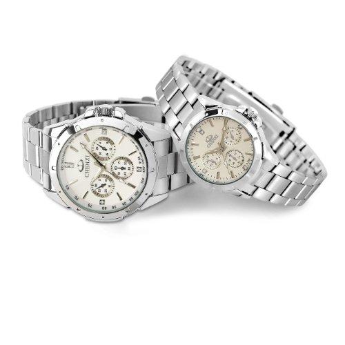Wasserdicht Outdoor Sport Glow Mode Quarz Armbanduhr Business Herren und Lady Uhren–Paar Weiß (Damen Outdoor-wasserdichte Armbanduhr)