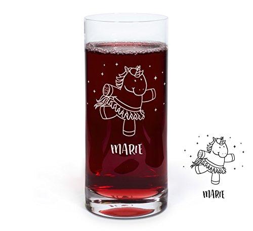 PrintPlanet® Graviertes Glas - Leonardo® Trinkglas mit Gravur (mit Name oder Text personalisiert) - Design Einhorn