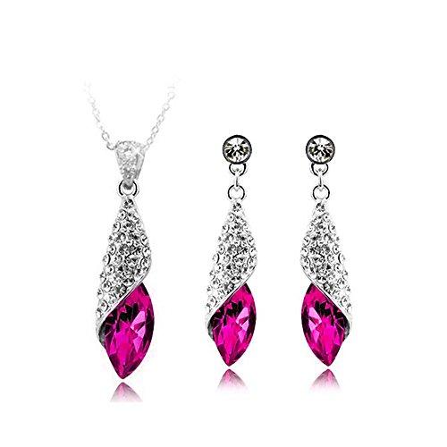 n Kristall und 18K Vergoldet Wassertropfen Modeschmuck Set Ohrringe Anhanger (Österreichischen Kristall Modeschmuck)