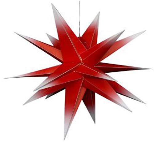 """80 cm Adventstern Außenstern in rot-weiß - Klappsystem inkl.Kabel inkl. LED Beleuchtung. Es ist KEIN :, Herrnhuter,- sondern \""""der Falkensteiner Stern \"""""""